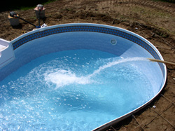Inground Vinyl Liner Swimming Pool Construction Carroll