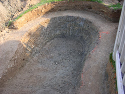 Excavating Swimming Pool Hole Backyard Maryland